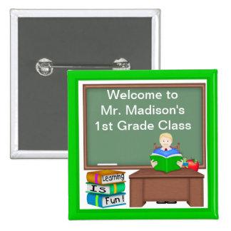 Teacher's Chalk Board Male Square Button