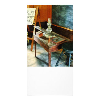 Teacher's Desk with Hurricane Lamp Custom Photo Card