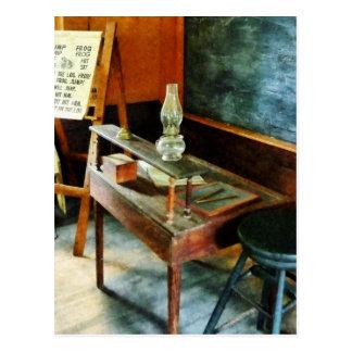 Teacher's Desk with Hurricane Lamp Postcard