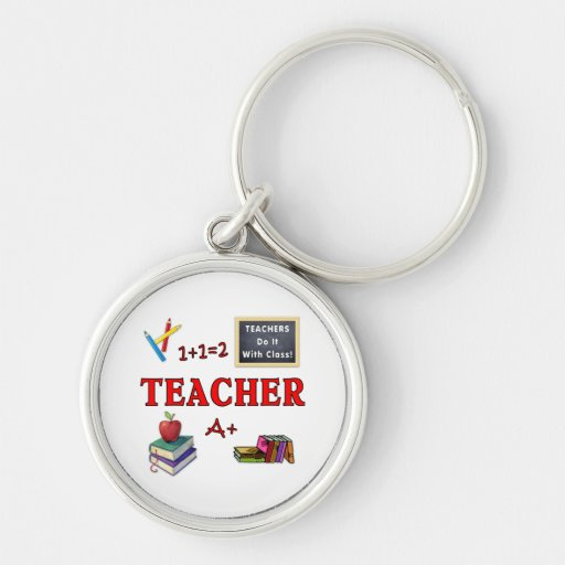 Teachers Do It With Class Silver-Colored Round Key Ring