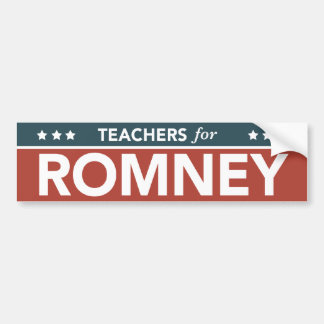 Teachers For Mitt Romney Ryan 2012 Bumper Sticker