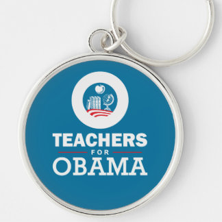 Teachers for Obama Silver-Colored Round Key Ring