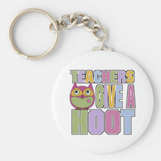 Teachers Give A Hoot Basic Round Button Key Ring