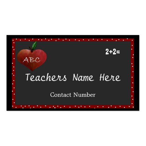 Teachers Heart Apple Business Card