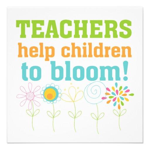 Teachers Help Children Bloom Personalized Announcements