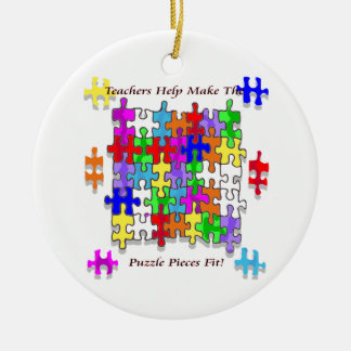 Teachers Help Make The Pieces Fit - Autism Awarene Christmas Ornament