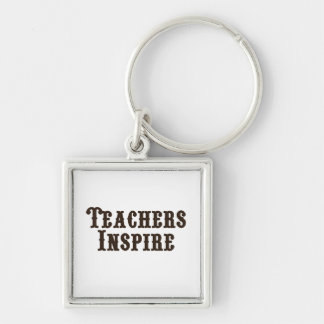 Teachers Inspire Silver-Colored Square Key Ring