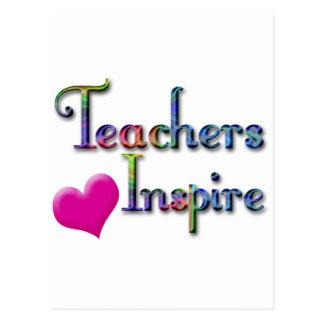 Teachers Inspire With Pink Heart Postcard
