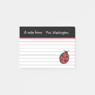 Teacher's Ladybug Post It Notes