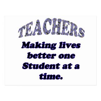 Teachers making lives better postcard