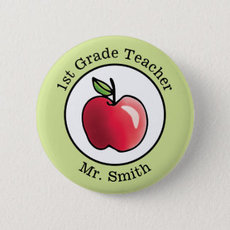 Teacher's Name Red apple Personalized 6 Cm Round Badge