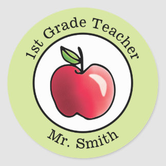 Teacher's Name Red apple Personalized Round Sticker