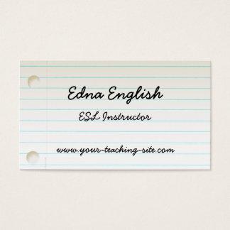 Teacher's Notebook Paper Business Card