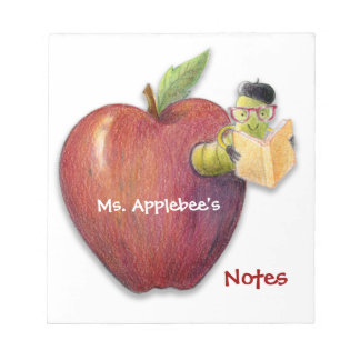 Teacher's Notes Apple with Bookworm Customizable