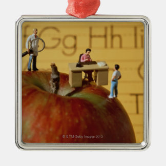 Teachers on Apple Silver-Colored Square Decoration