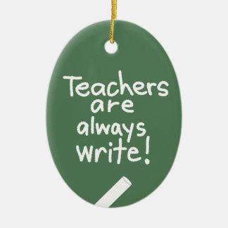 Teachers Pun Funny Oval Custom Teacher Ornament