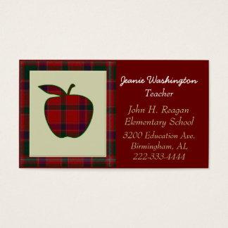 Teacher's Red Plaid Apple Business Card