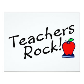 Teachers Rock Apple 11 Cm X 14 Cm Invitation Card