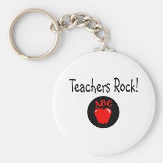 Teachers Rock Apple 2 Basic Round Button Key Ring