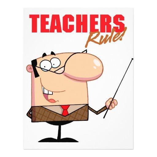 teachers rule male teacher character flyer design