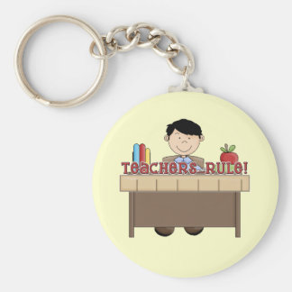Teachers Rule - Male Tshirts and Gifts Basic Round Button Key Ring