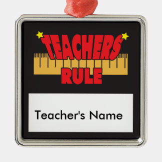 Teachers Rules Ruler Silver-Colored Square Decoration