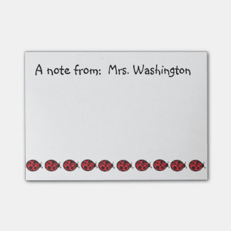Teacher's School Red Ladybug Post It Notes Gift