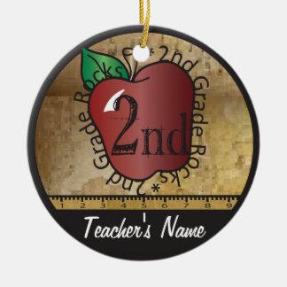 Teacher's Vintage Style 2nd Grade | Chalkboard Round Ceramic Decoration