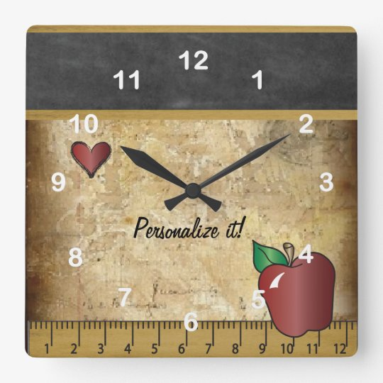 Teacher's Vintage Style Chalkboard Square Wall Clock