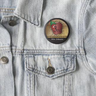 Teacher's Vintage Styled 3rd Grade 6 Cm Round Badge