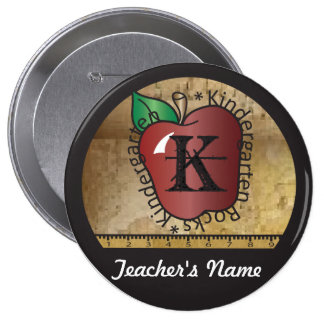 Teacher's Vintage Styled Kindergarten Button Pin