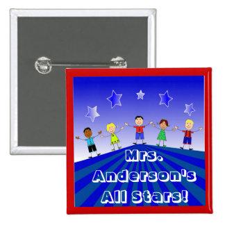 Teachers's All Star Kids Custom Button Pin