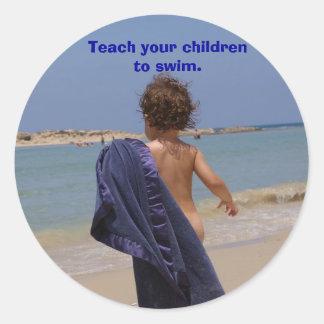 Teaching  Children to Swim Round Sticker