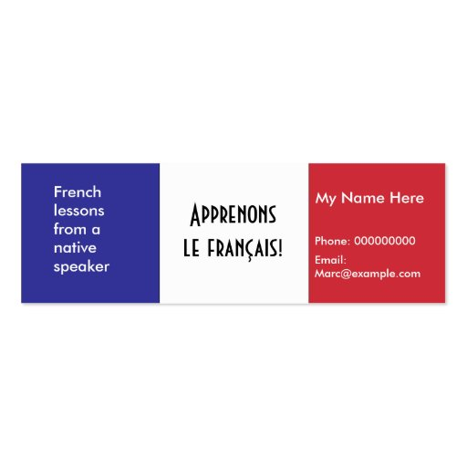 Create your own language tutor business cards teaching french language advertising cards business card template colourmoves