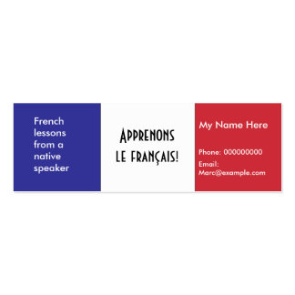 Teaching French Language -- Advertising Cards Pack Of Skinny Business Cards