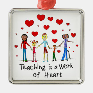 Teaching is a Work of Heart Silver-Colored Square Decoration