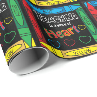 Teaching is a Work of Heart | Teacher Wrapping Paper