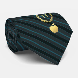 Teaching Professional Framed Monogram Teal Striped Tie