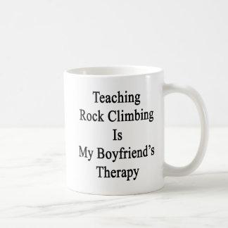 Teaching Rock Climbing Is My Boyfriend's Therapy Basic White Mug