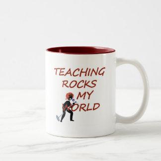 TEACHING ROCKS MY WORLD Two-Tone MUG