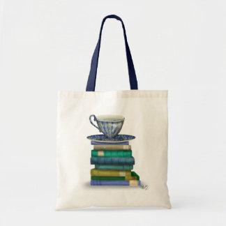 Teacup and Books Tote Bag