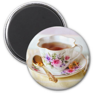Teacup and Gold Teaspoon Magnet