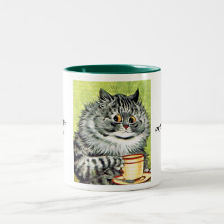 Teacup Cat by Louis Wain Two-Tone Coffee Mug