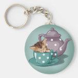 Teacup Kitten Basic Round Button Key Ring