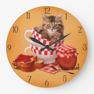 teacup kitty wall clocks
