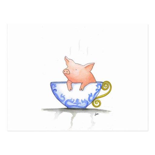 Teacup Pig Print Post Card