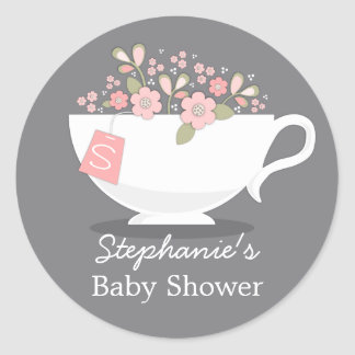 Teacup & Pink Floral Monogram Baby Shower Sticker