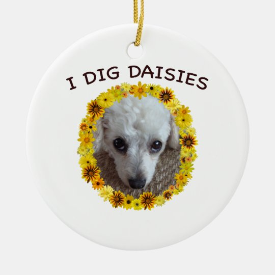Teacup Poodle Dog Digs Daisies Christmas Ornament