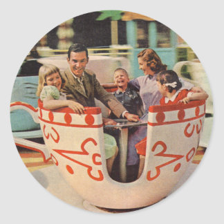 teacup ride at the amusement park round sticker