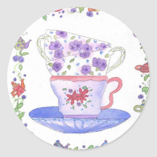 Teacup Stack Tea Time Round Sticker
